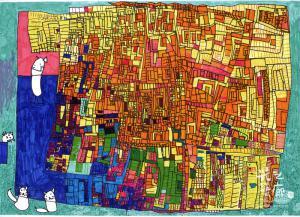 段喬茵 跳躍在都市的小貓 54.5 X 39.3cm 彩色筆、紙本 2015